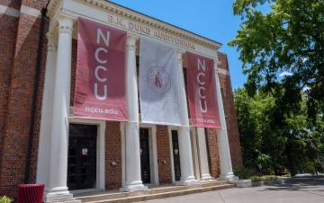 North Carolina Central Univeristy's B.N. Duke Auditorium is named after Benjamin Duke, a early benefactor to the university and a member of the Duke family. Photo courtesy of North Carolina Central University.