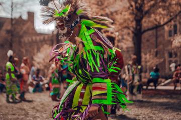 A dancer from the 2018 Duke Powwow