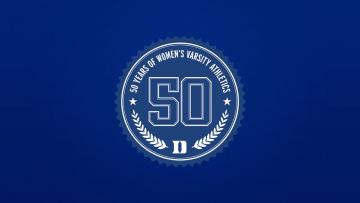 graphic of 50th anniversary of women's athletics
