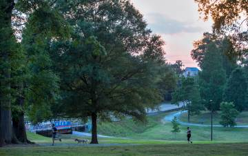 People go on a run on campus in May of 2019. Photo by Jared Lazarus, Duke University Communications.
