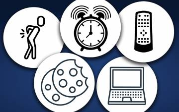 A graphic showing a person with back pain, an alarm clock, a remote control, a laptop and cookies.
