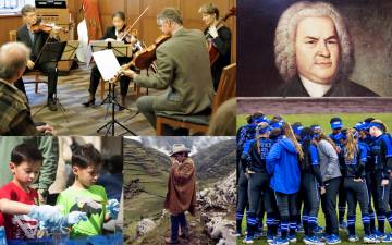 Clockwise from top left: people playing stringed instruments, Johann Sebastien Bach, a softball team, Dennis Hopper, kids playing.