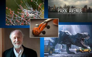Collage of photos of a bird, the New York skyline, a violin, a dinosaur and author Allan Gurganus.