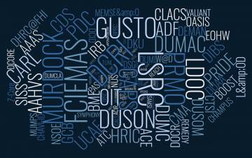 A word cloud of acronyms.