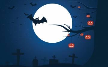 A spooky nighttime scene.