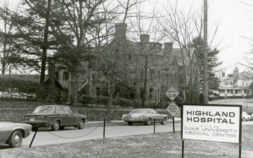 Highland Hospital, which was part of Duke, was a central piece of Asheville's Montford Neighborhood. Photo courtesy of Duke Medical Center Archives.