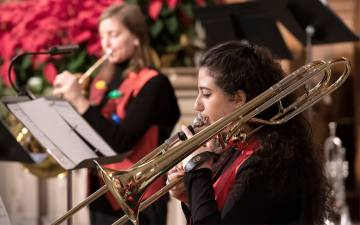 A performer with the Durham Medical Orchestra plays in last year's Employee Holiday Concert. Photo courtesy of University Communications.