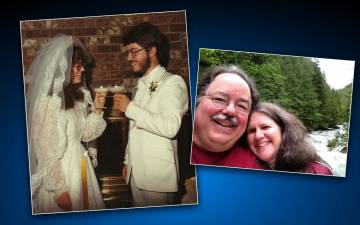 John Campbell with wife, Sally on their wedding day in 1983 and in the present day. Photo courtesy of John Campbell.