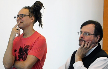 Thomas DeFrantz (left) and Martin Brooke  watch their students perform in the Performance and Technology course .