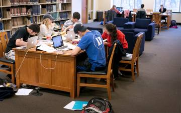 Students fill Perkins Library during the period before final exams. Photo courtesy of Duke Libraries.