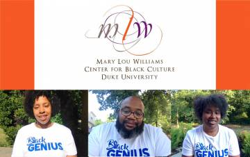 Left to right: Brie Starks, Quinton Smith and Chandra Guinn work to preserve and share Black culture and history at Duke at the Mary Lou Williams Center for Black Culture. Photo courtesy of the Mary Lou Williams Center.