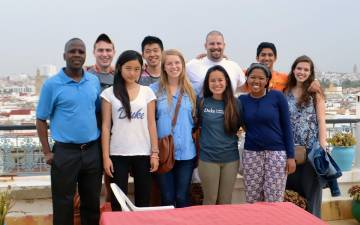 Mbaye Lo, on the left, in Morocco with Duke students. Photo courtesy of Mbaye Lo