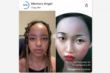 Selfie taken by Duke student linked to the painting Memory's Angel