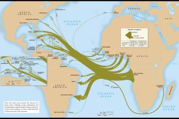 Map of slave-trade voyages across the Atlantic. (Emory Center for Digital Scholarship, Mellon Foundation)