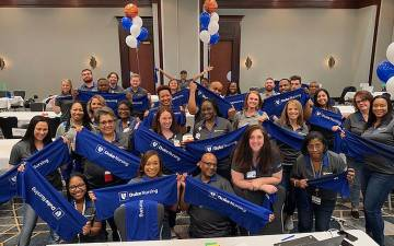 Recruiters from Duke celebrate the completion of the March Madness virtual recruiting event. Photo courtesy of Gina Goodson-Allen.