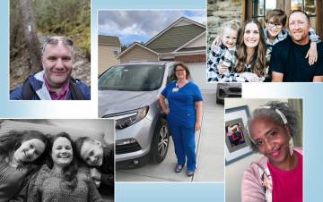 Clockwise from top left: John Owens, Lori Levy, EmilyJames and her family, Emily Jackson and Kate Davies and her family have all found ways to save money during the pandemic. Submitted photos.