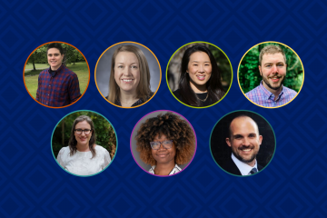 The academic guides, in order from upper left to bottom right: Chase Black, Debbie Hughes, Katherine Jo, Joshua Sipe, Sarah Eisensmith, Erica Wallace, and Thomas N. Phillips