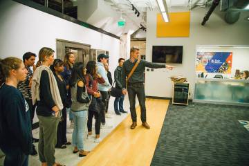 Students in Dennis Clements' global health class visit local entrepreneurs in Durham's American Underground.