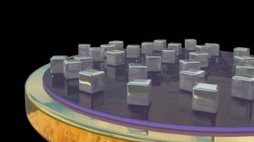 An artistic rendering of a new type of hyperspectral imaging detector. Depending on their size and spacing, nanocubes sitting on top of a thin layer of gold trap specific frequencies of light, which heats up the materials beneath to create an electronic s