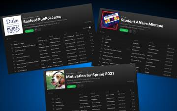 Employees with the Sanford School of Public Policy, Student Affairs and the Islamic Studies Center put together playlists for colleagues and students to enjoy.