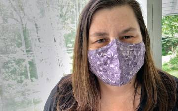Rebecca Doll, clinical services coordinator for Duke Audiology, wears a mask she sewed. Photo courtesy of Rebecca Doll.