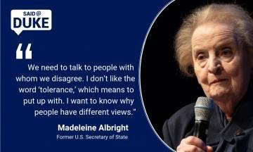 Former U.S. Secretary of State Madeleine Albright speaks at Page Auditorium.