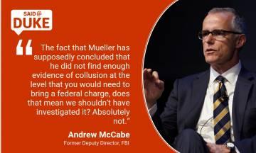 Andrew McCabe on The FBI, Trump, Mueller