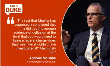 Andrew McCabe on The FBI, Trump, Mueller