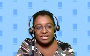 Jilliam Johnson speaks on an online discussion.