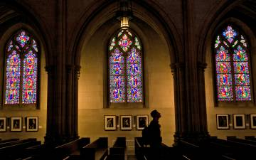 The stained glass windows of Duke Chapel.