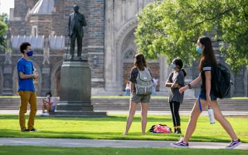 While students are back on campus, many staff members must work with them while also practicing social distancing. Photo courtesy of University Communications.