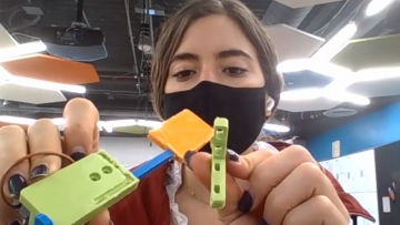 Alina Suarez designed an automated door for her Bass Connection team's test strip dispenser