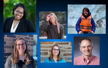 The 2021 Sustainability Award winners, clockwise from top left, Cameron Oglesby, Avery Indermaur, Beth Ray-Schroeder, Billy Pizer, Margaret Overton and Amalia Turner.