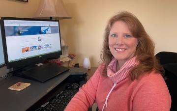 Tecca Wright takes a LinkedIn Learning course on operations management approaches in her home office. Photo courtesy of Tecca Wright.