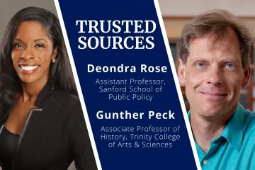 Duke professors Deondra Rose and Gunther Peck