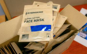Every Duke staff, faculty and student will get three reusable masks that Duke purchased from StringKing, a sporting goods and apparel manufacturer in Los Angeles. Photo by Megan Mendenhall.