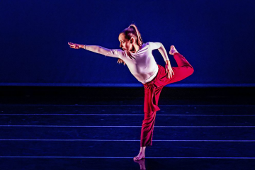 Gabby Cooper performing a piece by Professor Andrea Woods at the Duke Dance Program's November 2019 showcase. Photo by Alec Himwich.