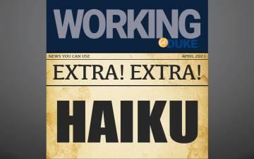 Haiku printed on a newspaper background.