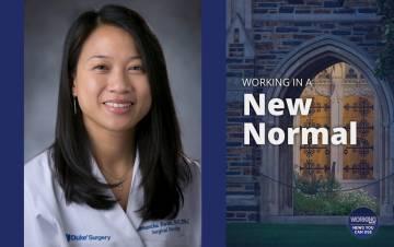 Samantha Kwan Verruto treats patients in the Duke Breast Surgery department.
