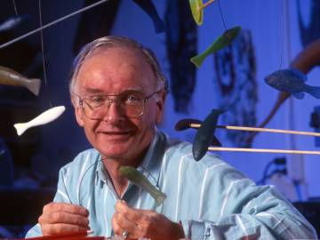 Professor Stephen Wainwright in the mid-1990s. Researchers in the BioDesign Studio he founded built these small rubbery models -- dubbed Twiddlefish -- to show how fish bend their bodies into waves of S-shaped curves in order to swim.