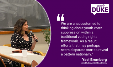 "We are unaccustomed to thinking about youth voter suppression within a traditional voting rights framework. As a result, efforts that may perhaps seem disparate start to reveal a pattern nationally."" -- Attorney Yael Bromberg"