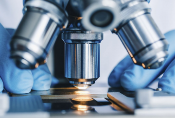 image of microscope looking at high end computer chip