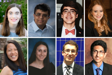 The 2018 AB Duke Scholars, clockwise from top left: Margot Alaine Armbruster, Yasa Mirza Baig, Cooper Edmunds, Carlee Marissa Goldberg, Ritik Purshottam Goyal, Thomas Alexander Huck, Nicole Isabelle Moiseyev; and Cynthia Wang.