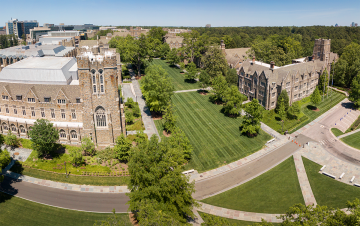 Aerial of Duke University showing Abele Quad