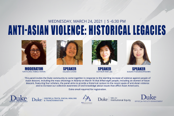 Graphic showing speakers for panel on violence against Asian-Americans