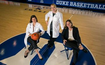 From left to right: Georgia Beasley, Lauren Rice and Krista Gingrich were part of the first Duke women's basketball team to reach an NCAA Tournament final.
