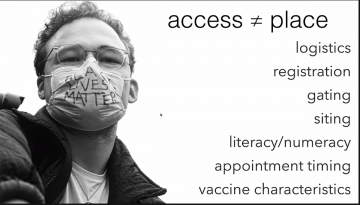 A slide from Dr. Bennett's presentation which outlines the plethora of impactors on access.