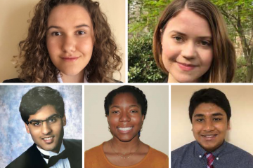 The Class of 2024 BN Duke Scholars, clockwise from top left: Nicole Bolton, Cordelia Hume, Rashad Rahman, McKenna Vernon and Oum Lahade.
