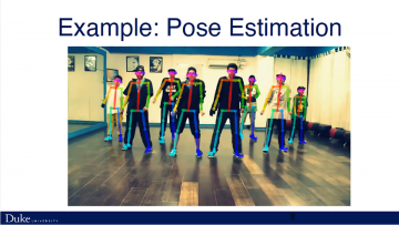 This slide from an AI from Everyone session shows an example of how artificial intelligence can be used to estimate human poses.