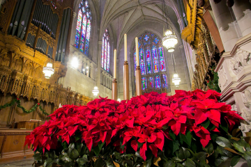 Duke Chapel decorated for the Christmas holiday